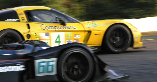 Corvette C6R of GM Racing is overtaken by the LMP2 Acura ARX-01b of De Farran Motorsports